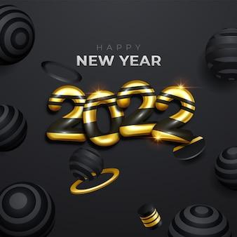 Luxe 2022 gelukkig nieuwjaar wenskaart