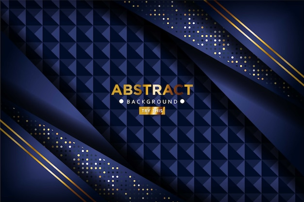 Luxe 3d donker marineblauw overlappen achtergrond met gouden lijnen gouden glitters stippen. elegante moderne achtergrond