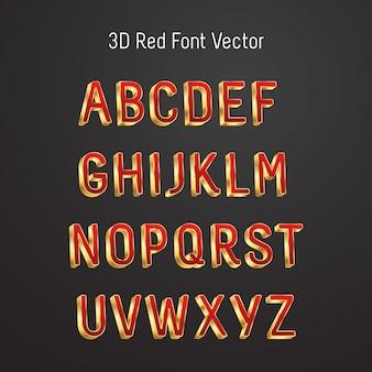 Luxe 3d-lettertype met majestueuze rode en gouden lettertype