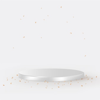 Luxe 3d product achtergrond vector in zilver