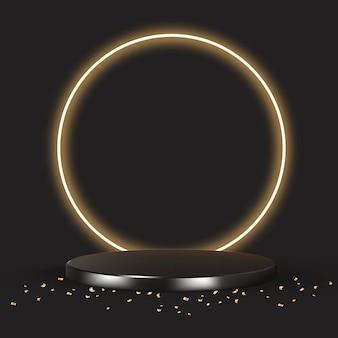 Luxe 3d product backdrop in zwart met gouden confetti Gratis Vector