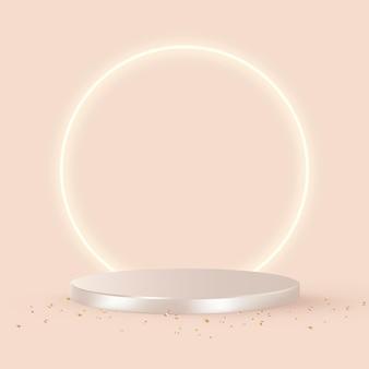 Luxe 3d-productachtergrond in roségoud met oranje achtergrond