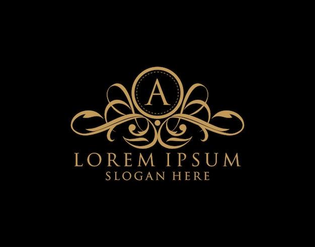 Luxe a-brieflogo, premium koninklijke badge voor restaurant, royalty, boetiek, bruiloft, hotel, heraldiek, sieraden, mode en label.