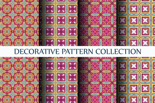 Luxe abstract patroon ingesteld kleurrijke stijl