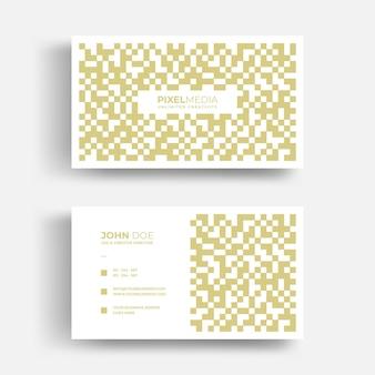 Luxe abstract visitekaartje met gouden pixelspatroon
