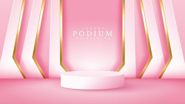 Luxe abstracte achtergrondscène. gouden lijn met cilindervormig podium voor showproduct. roze tint kleurfase over zoet gevoel. 3d-realistische stijl. vectorillustratie.