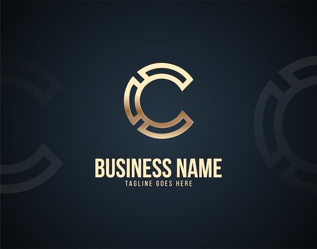 Luxe abstracte c brief ontwerpsjabloon logo met gouden kleureffecten
