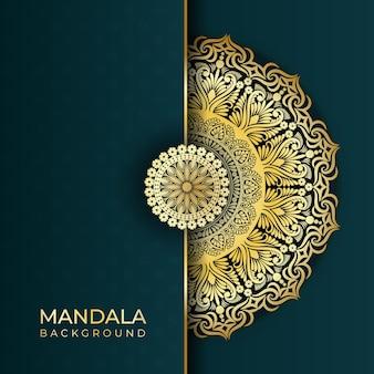 Luxe abstracte islamitische mandala kunst achtergrond in gouden kleureffecten