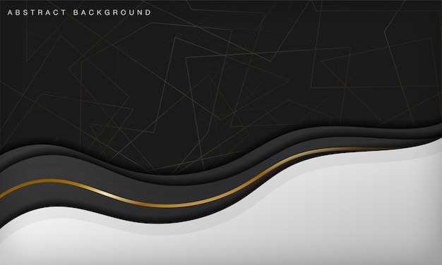 Luxe abstracte zwart-witte kromme achtergrond met lijn gouden elementen