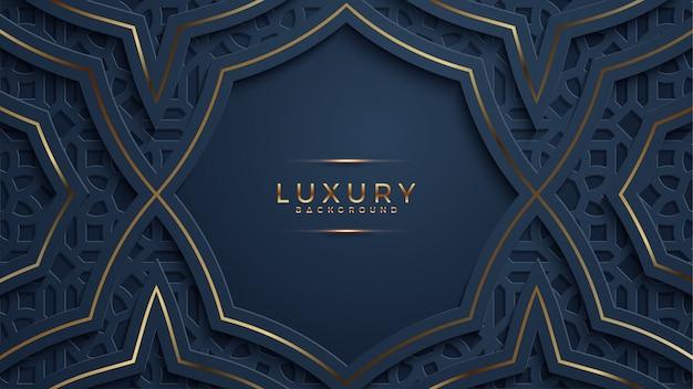 Luxe abstracte zwarte papercut geweven achtergrond met glanzend gouden halftone patroon.