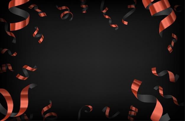 Luxe achtergrond met bronzen vallende confetti op donkere achtergrond