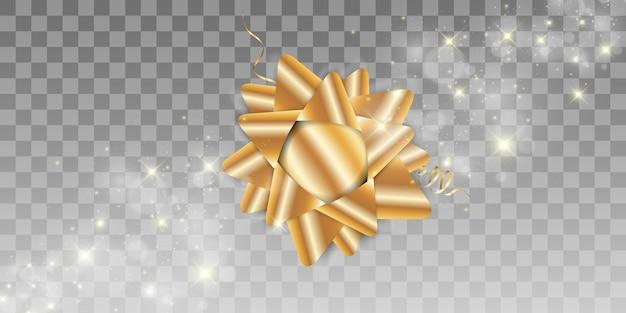 Luxe achtergrond met een gouden strik op een transparante achtergrond. gouden boog.