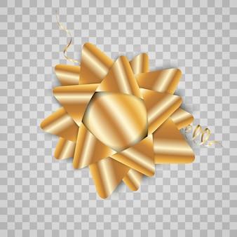 Luxe achtergrond met een gouden strik op een transparante achtergrond. gouden strik.