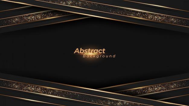 Luxe achtergrond met gloeiende gouden lijnen en gouden glitters.
