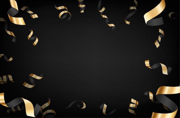 Luxe achtergrond met gouden vallende confetti donkere achtergrond