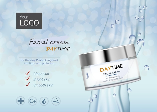 Luxe advertentiesjabloon voor een elegant mockup voor huidverzorgingsproducten op pure witte crèmemonsters