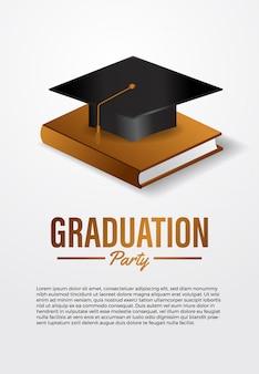 Luxe afstuderen partij ceremonie poster sjabloon met 3d isometrische afstuderen caps met gouden boek