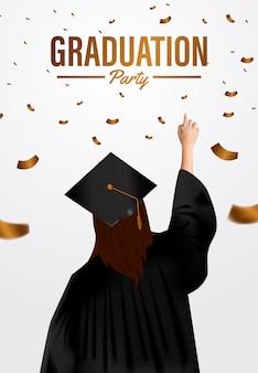 Luxe afstuderen partij ceremonie poster sjabloon met afgestudeerden van de vrouw en gouden confetti