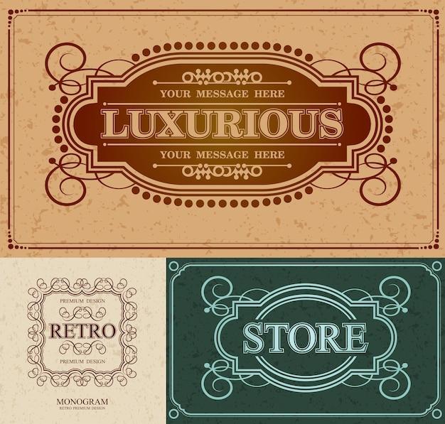 Luxe alligrafische ontwerprand en retro-merk, retro vintage monogram-ontwerpelementen