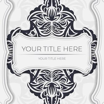 Luxe ansichtkaart kleur met vintage zwart ornament. uitnodigingsontwerp met mandalapatronen.