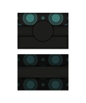 Luxe ansichtkaartontwerp in zwart met grieks ornament. vector uitnodigingskaart met plaats voor uw tekst en abstracte patronen.