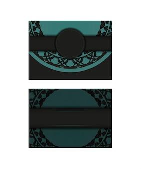 Luxe ansichtkaartontwerp in zwart met grieks ornament. vector uitnodigingskaart met plaats voor uw tekst en abstracte patronen. Premium Vector