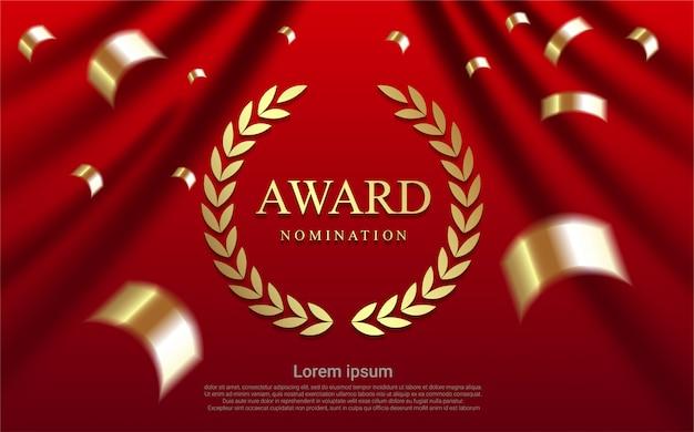 Luxe award nominatie op gordijn achtergrond.