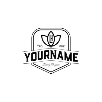 Luxe badge organic met lh of hl letter initial logo design