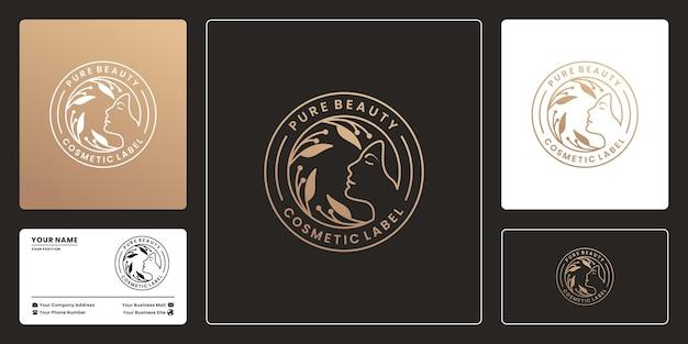 Luxe badge pure schoonheid logo ontwerpsjabloon