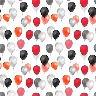 Luxe ballonnen in de kleuren rood, zilver en zwart Premium Vector