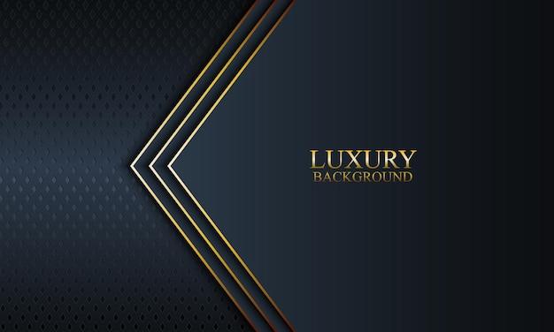 Luxe banner achtergrond met donkere marine en strepen en gouden lijnen. vector illustratie.