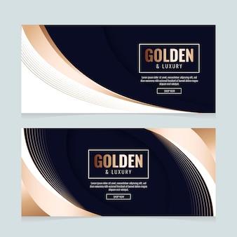 Luxe banners in gradiënt gouden stijl