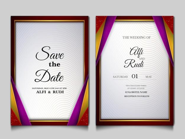 Luxe bewaar de datum bruiloft uitnodigingskaartenset