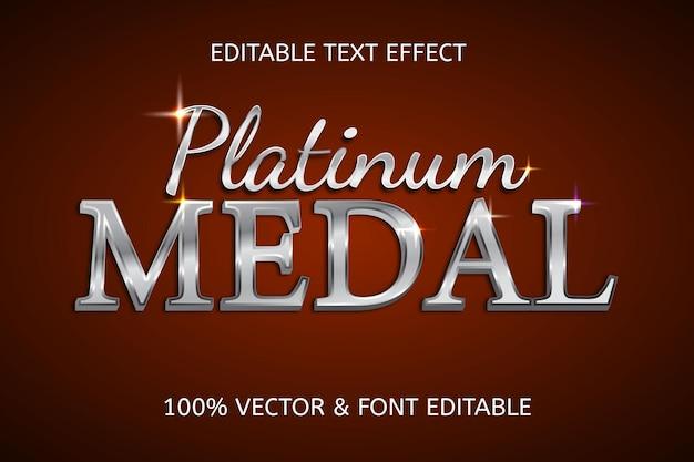 Luxe bewerkbaar teksteffect in platina medaille-stijl