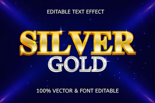 Luxe bewerkbaar teksteffect in zilvergouden stijl