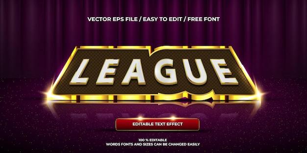 Luxe bewerkbare teksteffect league 3d-tekststijl