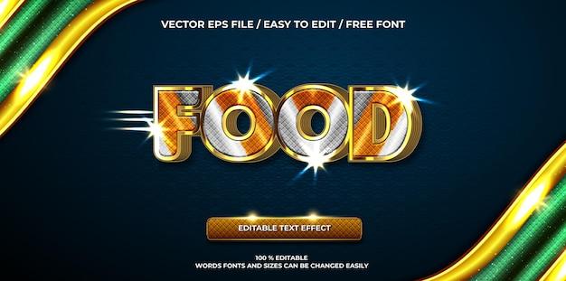 Luxe bewerkbare teksteffect voedsel 3d-tekststijl
