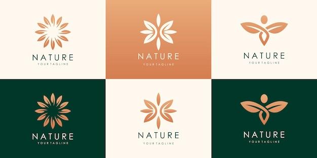 Luxe blad circulaire gouden logo-ontwerp. lineair universeel blad bloemenlogo