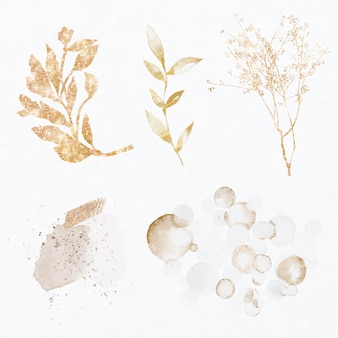 Luxe bladgoud glittery botanische set