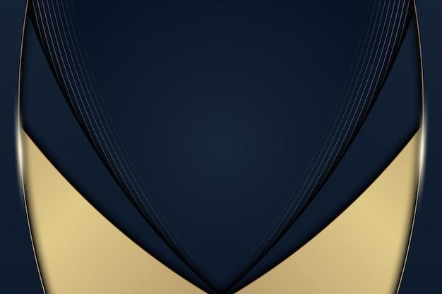 Luxe blauwe en gouden gebogen strepenachtergrond met lijnen. vector illustratie.
