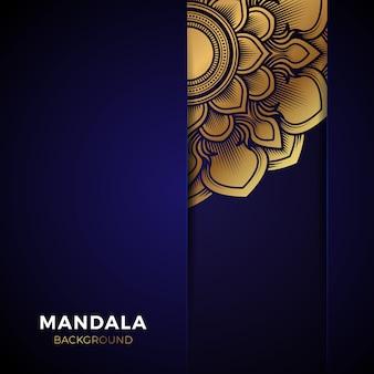 Luxe blauwe gouden mandala-achtergrond