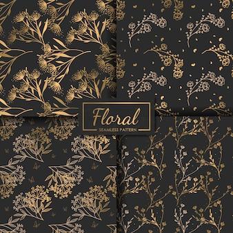 Luxe bloem naadloze patroon set, decoratief behang.