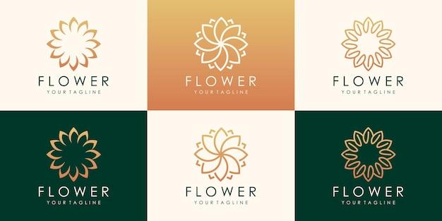 Luxe bloem vector logo. lineaire universele blad bloemen logo ontwerpsjabloon.