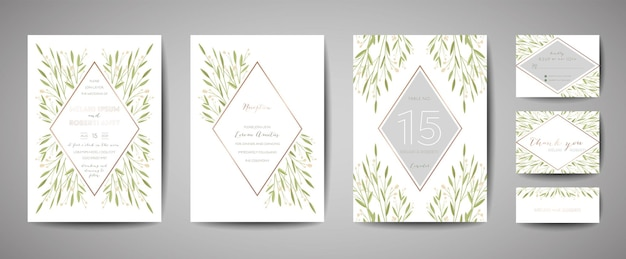 Luxe bloem vintage bruiloft bewaar deze datum, uitnodiging bloemenkaarten collectie met goudfolie frame. vector trendy omslag, grafische poster, retro brochure, ontwerpsjabloon