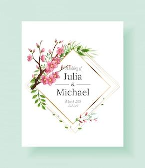 Luxe bloemen bruiloft uitnodiging ontwerp of wenskaartsjabloon met sakura tak en bloemen.
