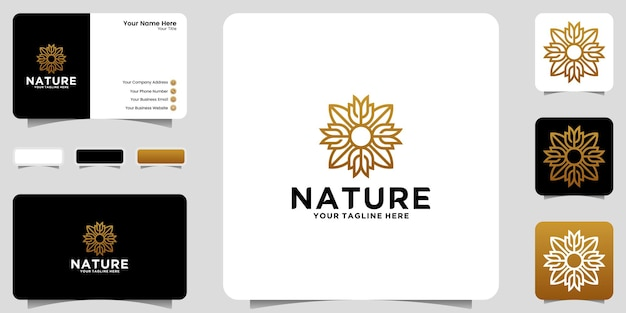 Luxe bloemen ornament logo ontwerp inspiratie icoon en visitekaartje ontwerp