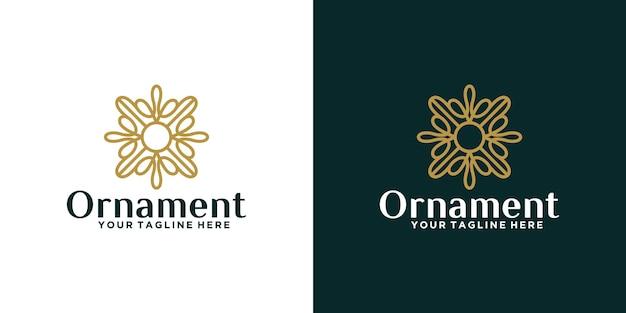 Luxe bloemen ornament ontwerp logo en visitekaartje inspiratie