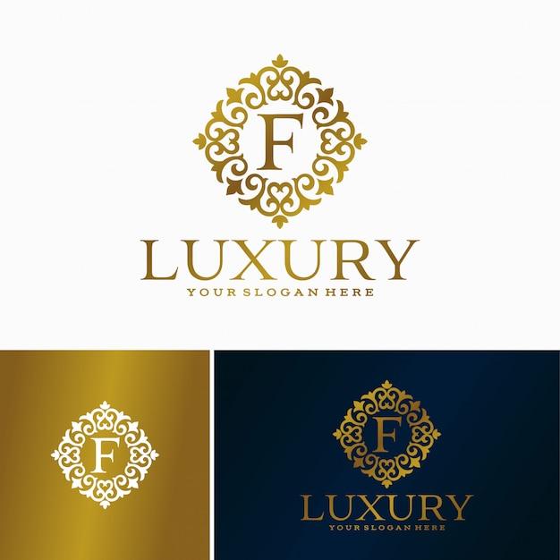 Luxe brief logo. eenvoudig en elegant bloemenontwerpembleem, elegant lineair luxe vectorembleemontwerp