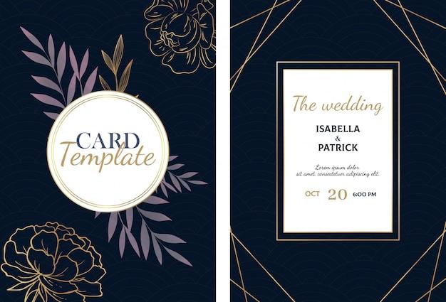 Luxe bruiloft kaart met gouden schets bloemen