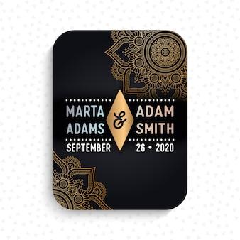 Luxe bruiloft kaart uitnodiging in etnische stijl met mandala